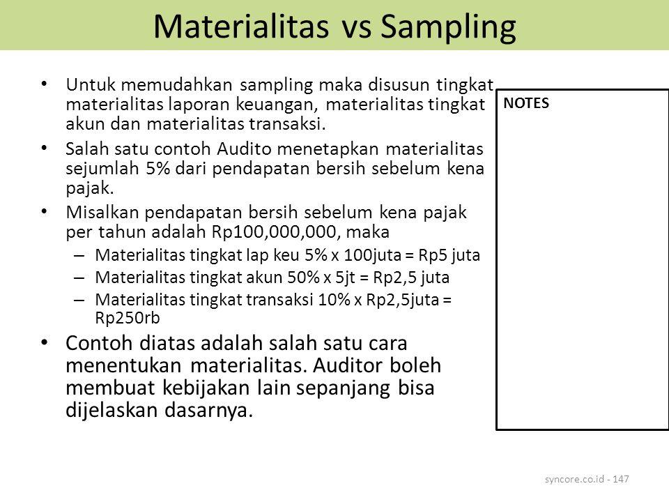 Materialitas vs Sampling