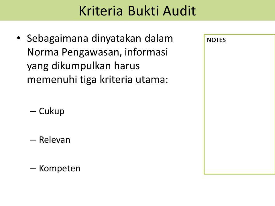 Kriteria Bukti Audit Sebagaimana dinyatakan dalam Norma Pengawasan, informasi yang dikumpulkan harus memenuhi tiga kriteria utama: