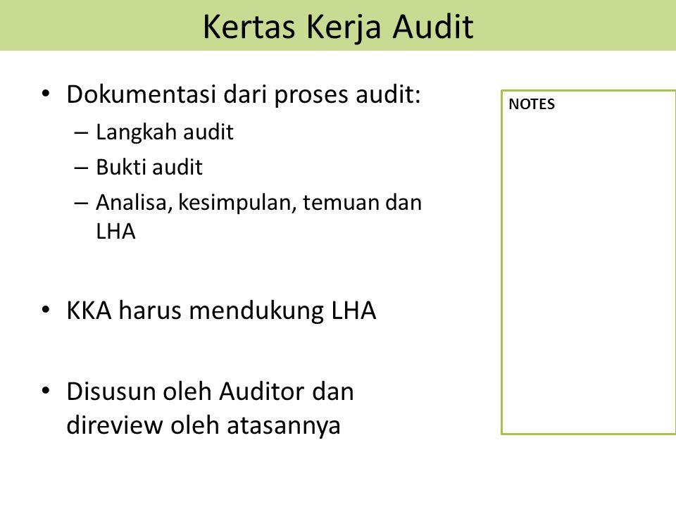 Kertas Kerja Audit Dokumentasi dari proses audit: