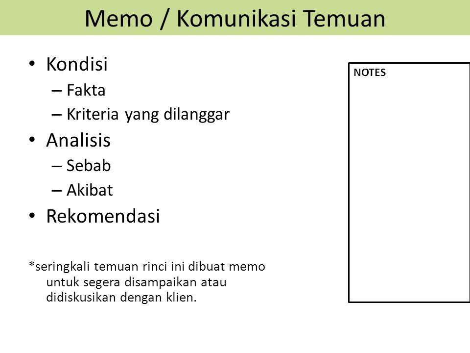 Memo / Komunikasi Temuan