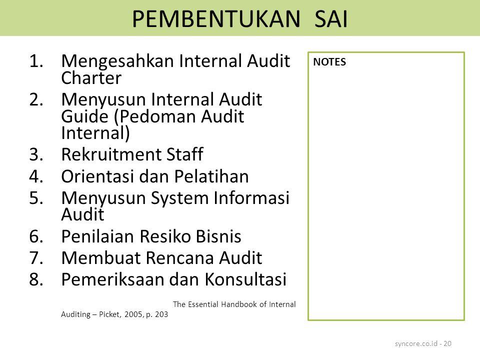 PEMBENTUKAN SAI Mengesahkan Internal Audit Charter