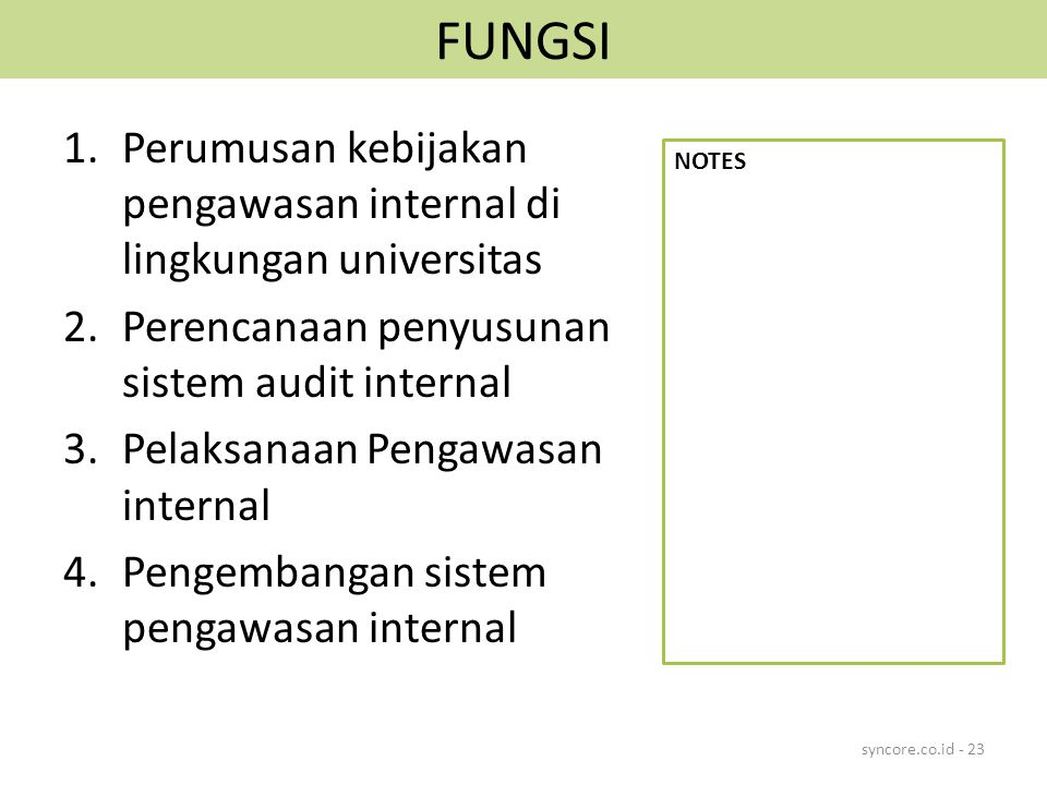FUNGSI Perumusan kebijakan pengawasan internal di lingkungan universitas. Perencanaan penyusunan sistem audit internal.