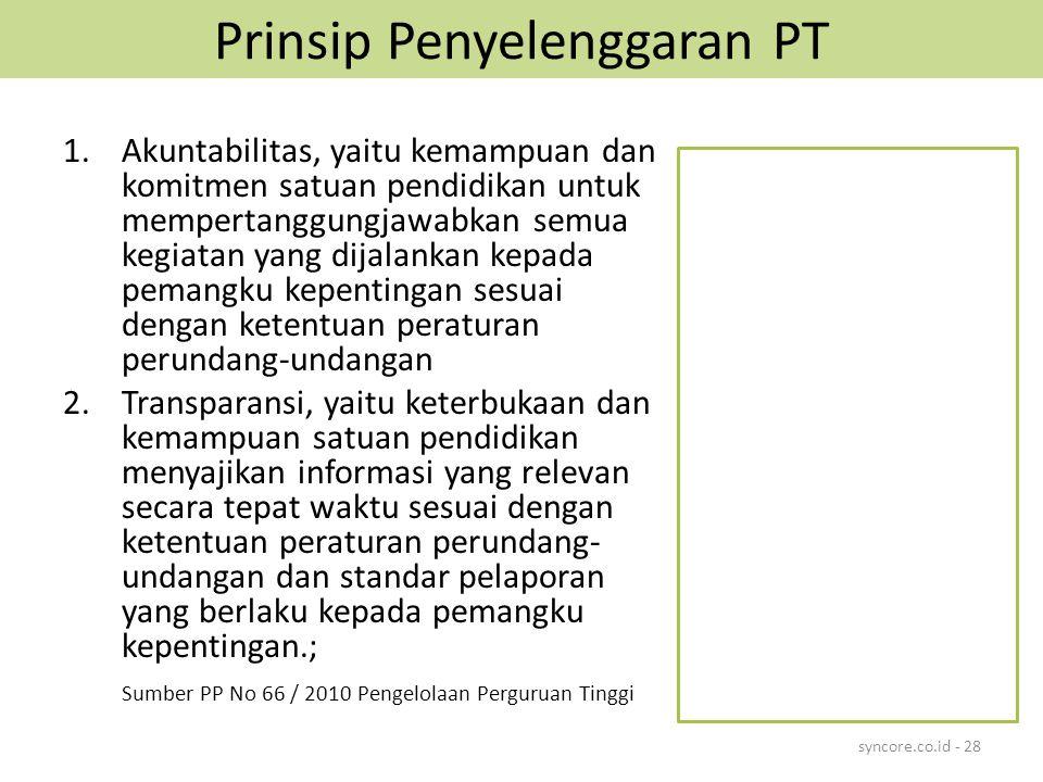 Prinsip Penyelenggaran PT