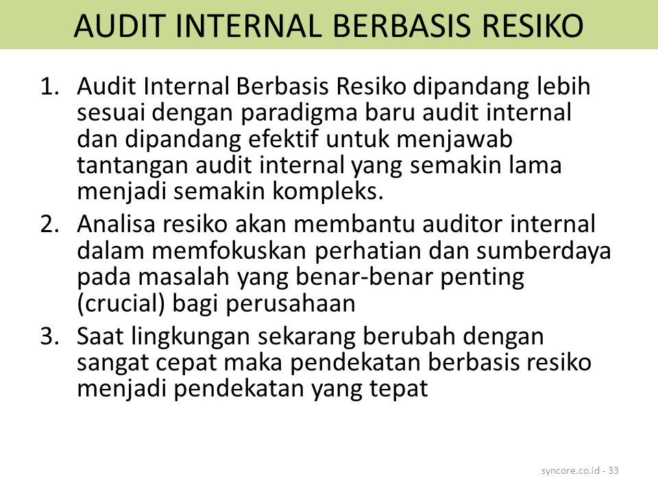 AUDIT INTERNAL BERBASIS RESIKO