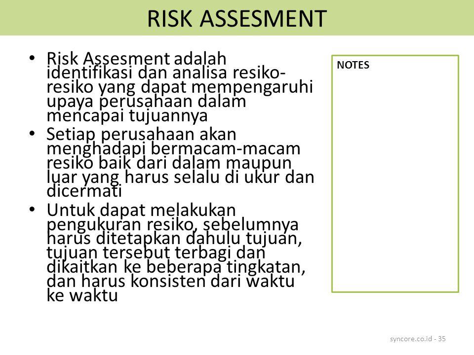 RISK ASSESMENT Risk Assesment adalah identifikasi dan analisa resiko-resiko yang dapat mempengaruhi upaya perusahaan dalam mencapai tujuannya.