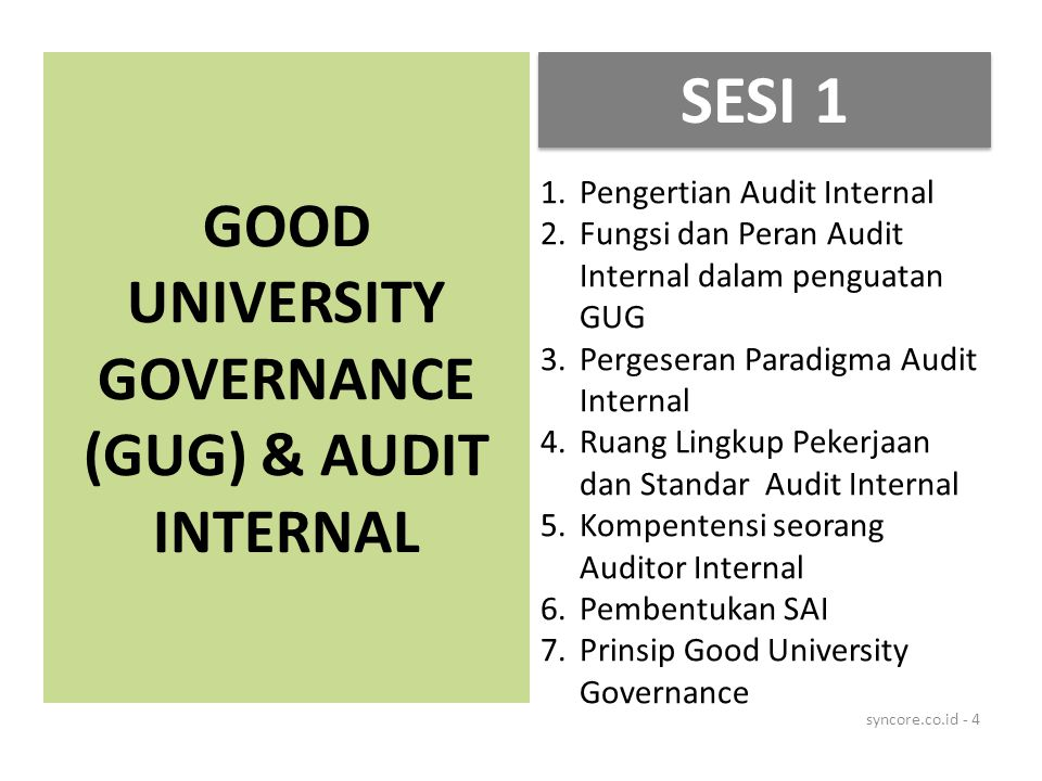 GOOD UNIVERSITY GOVERNANCE (GUG) & AUDIT INTERNAL