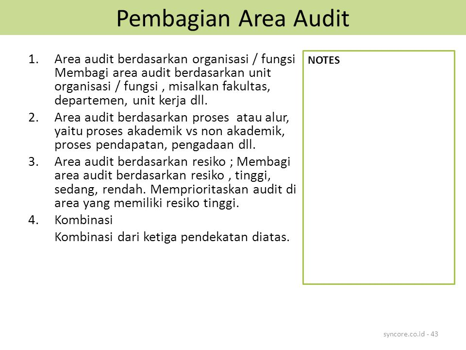 Pembagian Area Audit