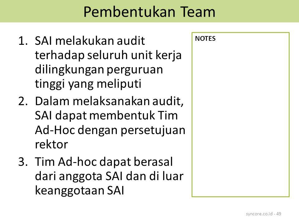 Pembentukan Team SAI melakukan audit terhadap seluruh unit kerja dilingkungan perguruan tinggi yang meliputi.