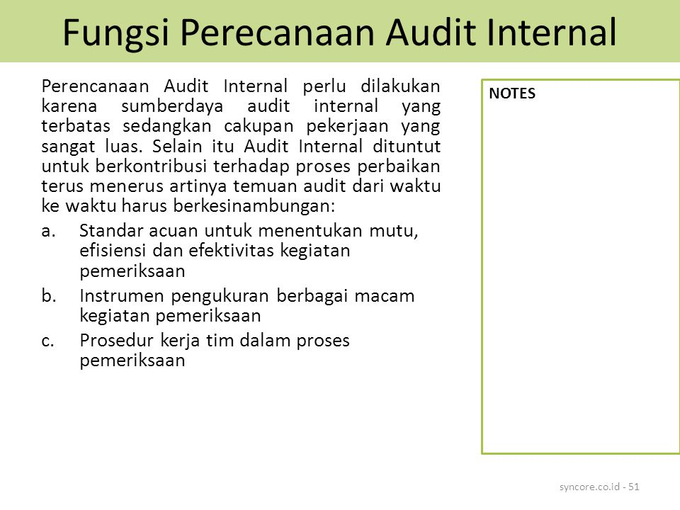 Fungsi Perecanaan Audit Internal