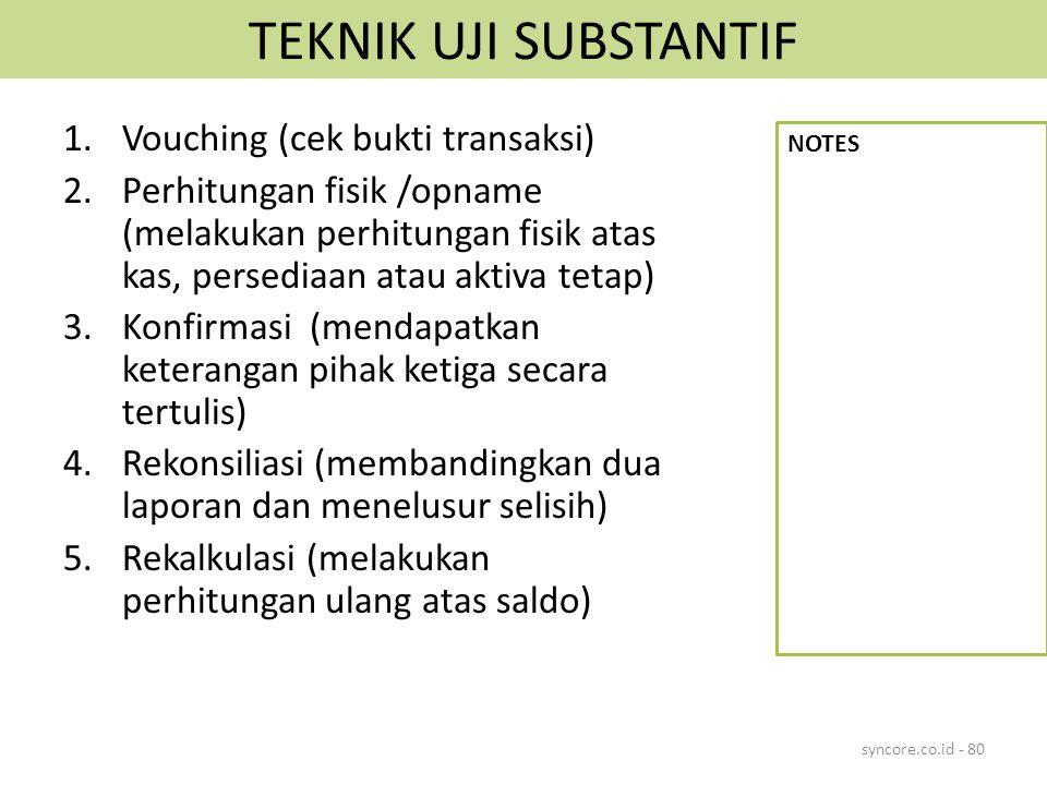 TEKNIK UJI SUBSTANTIF Vouching (cek bukti transaksi)