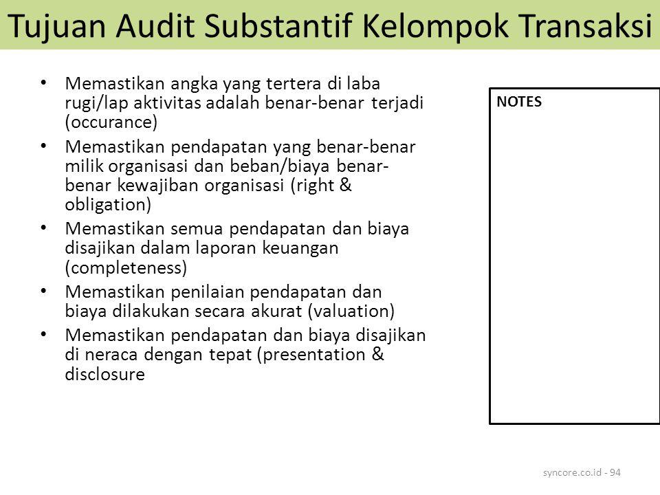 Tujuan Audit Substantif Kelompok Transaksi