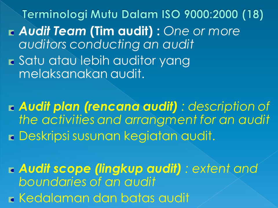 Audit Team (Tim audit) : One or more auditors conducting an audit