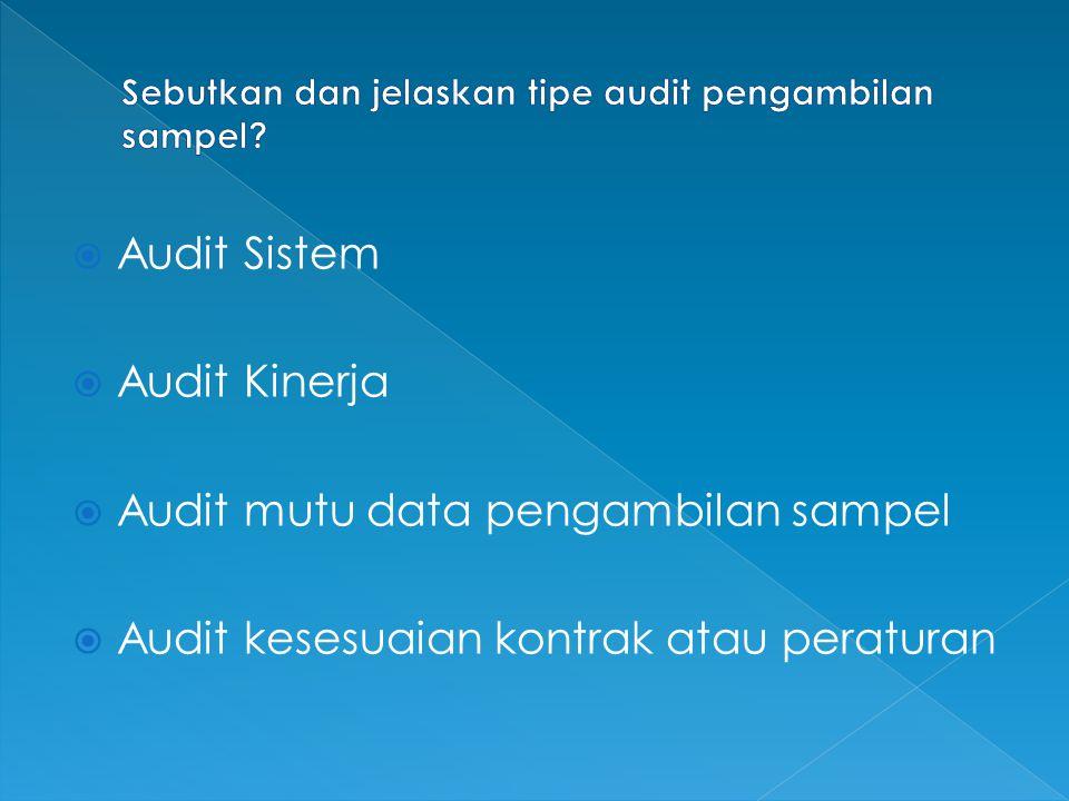 Sebutkan dan jelaskan tipe audit pengambilan sampel