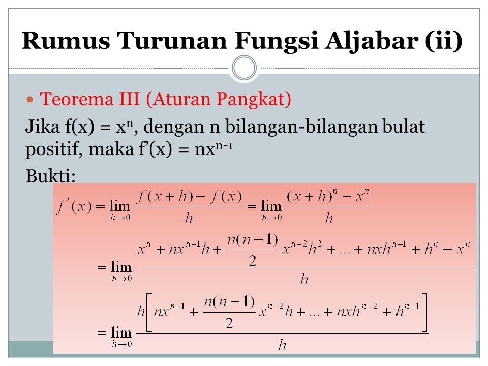 Rumus Turunan Fungsi Aljabar (ii)