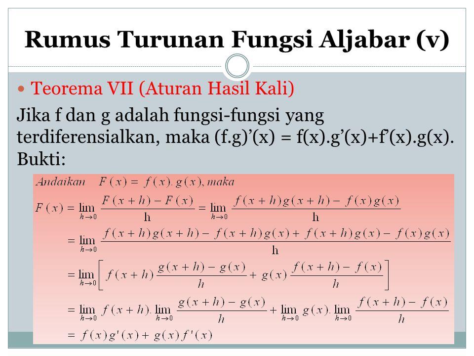 Rumus Turunan Fungsi Aljabar (v)