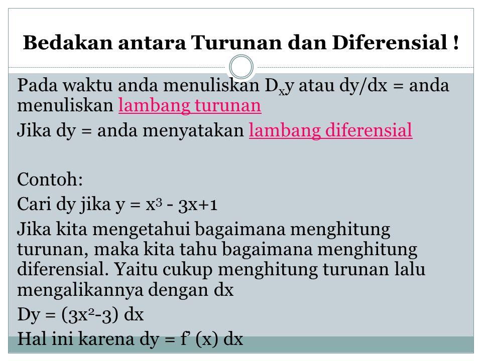Bedakan antara Turunan dan Diferensial !