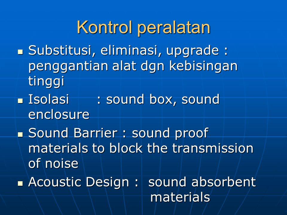 Kontrol peralatan Substitusi, eliminasi, upgrade : penggantian alat dgn kebisingan tinggi. Isolasi : sound box, sound enclosure.