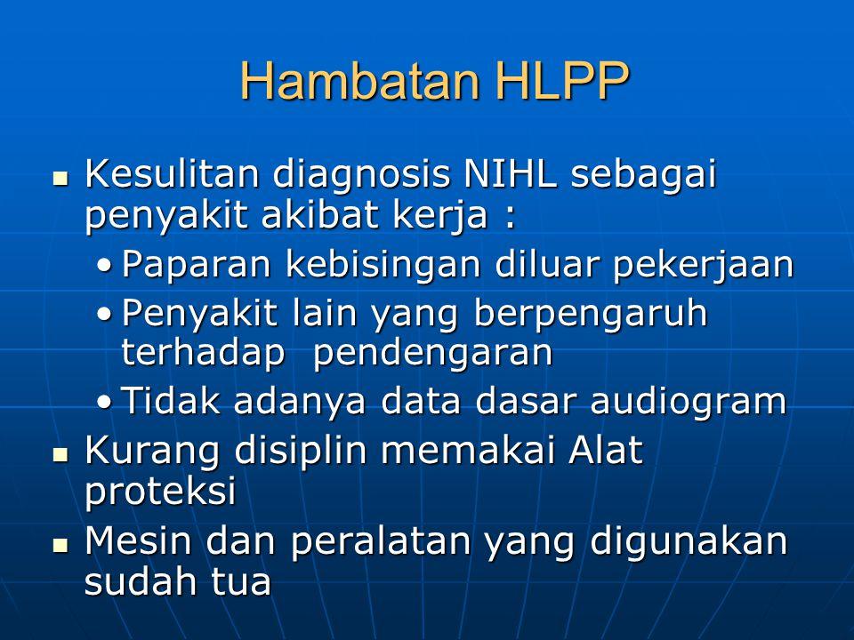 Hambatan HLPP Kesulitan diagnosis NIHL sebagai penyakit akibat kerja :
