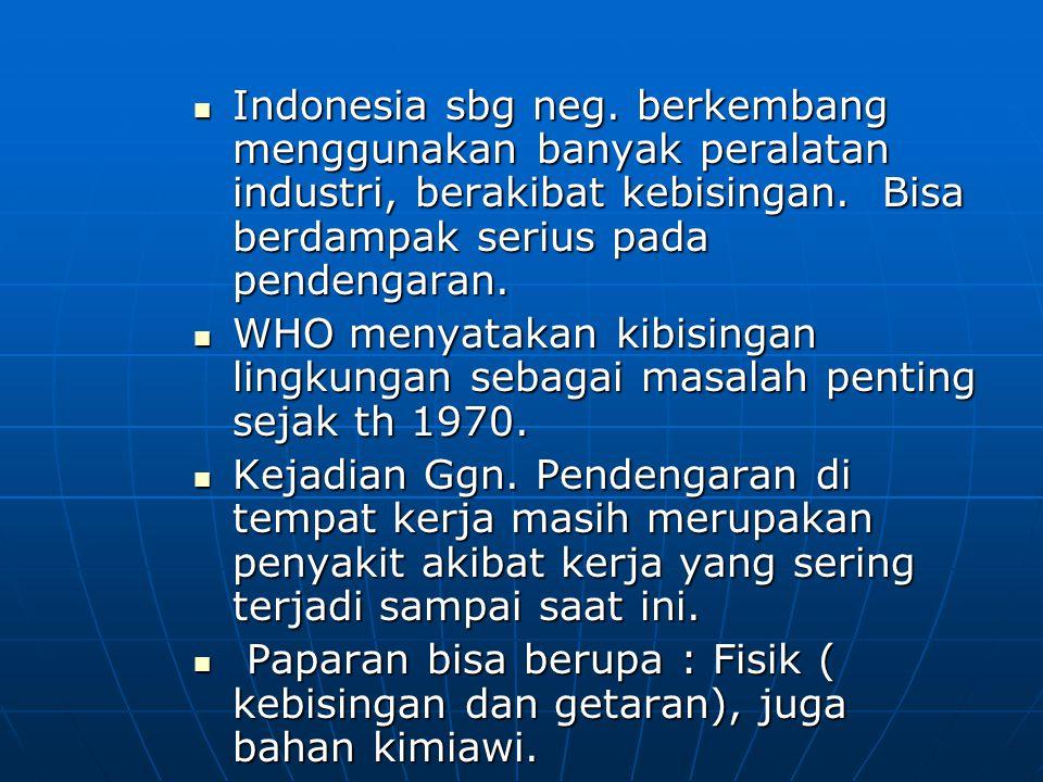 Indonesia sbg neg. berkembang menggunakan banyak peralatan industri, berakibat kebisingan. Bisa berdampak serius pada pendengaran.