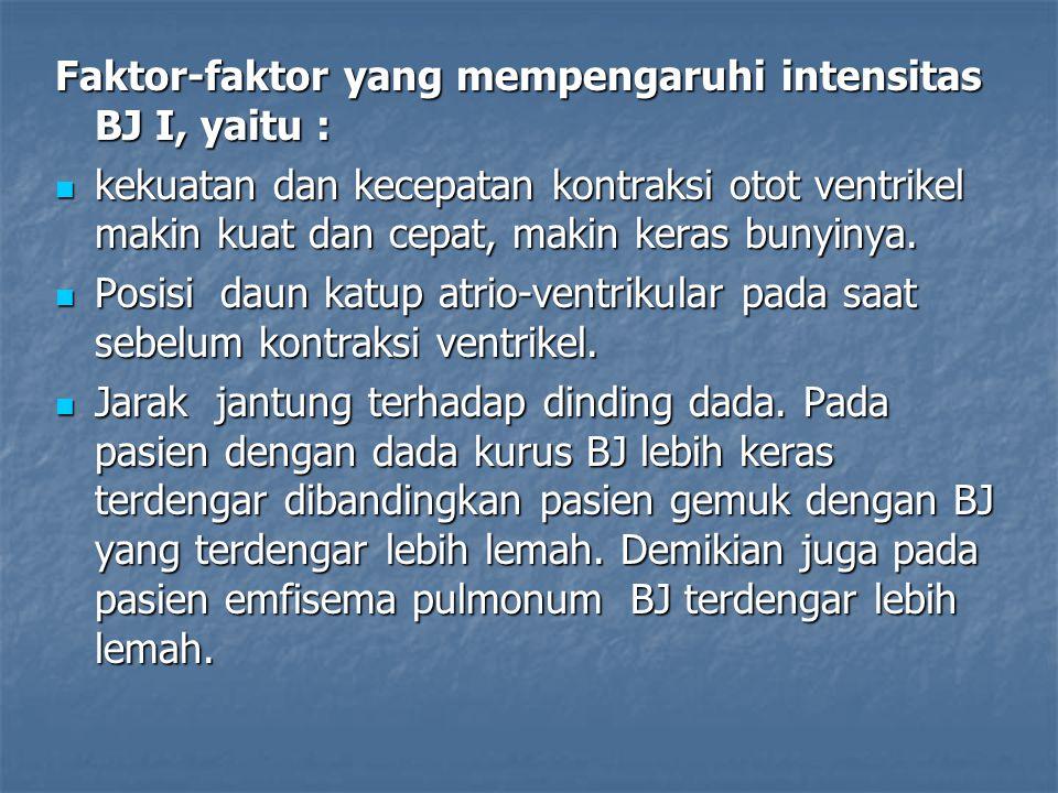 Faktor-faktor yang mempengaruhi intensitas BJ I, yaitu :