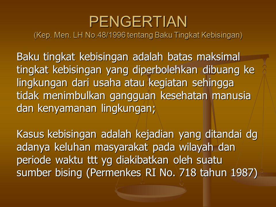 PENGERTIAN (Kep. Men. LH No.48/1996 tentang Baku Tingkat Kebisingan)
