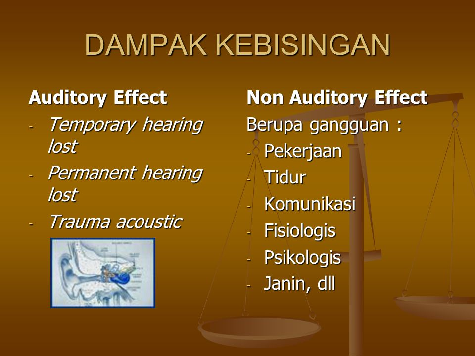 DAMPAK KEBISINGAN Auditory Effect Temporary hearing lost
