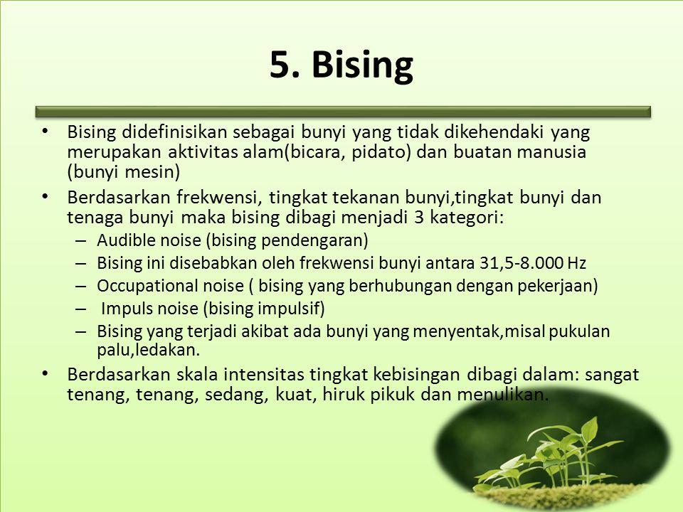 5. Bising Bising didefinisikan sebagai bunyi yang tidak dikehendaki yang merupakan aktivitas alam(bicara, pidato) dan buatan manusia (bunyi mesin)