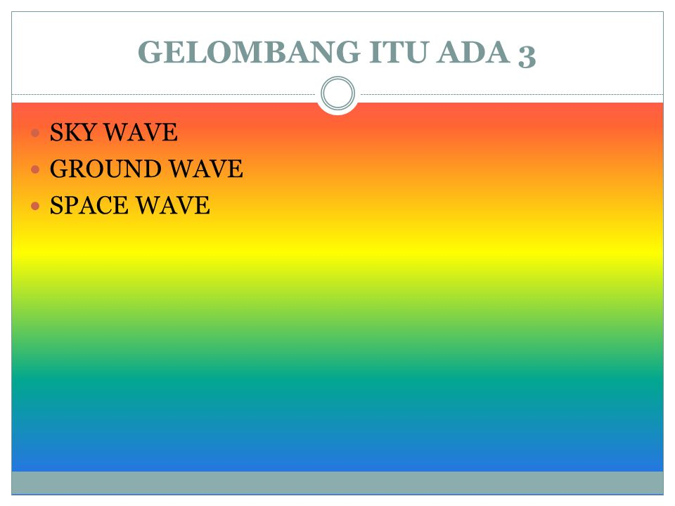 GELOMBANG ITU ADA 3 SKY WAVE GROUND WAVE SPACE WAVE