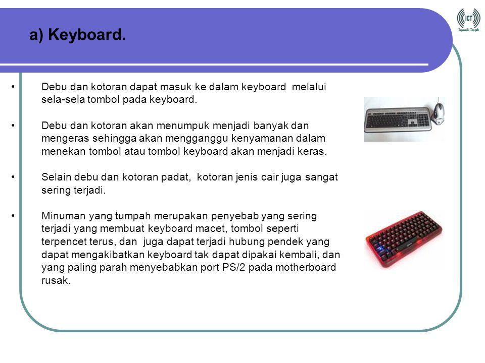 a) Keyboard. Debu dan kotoran dapat masuk ke dalam keyboard melalui sela-sela tombol pada keyboard.