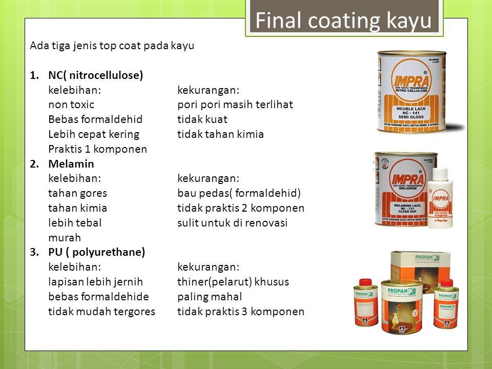 Final coating kayu Ada tiga jenis top coat pada kayu