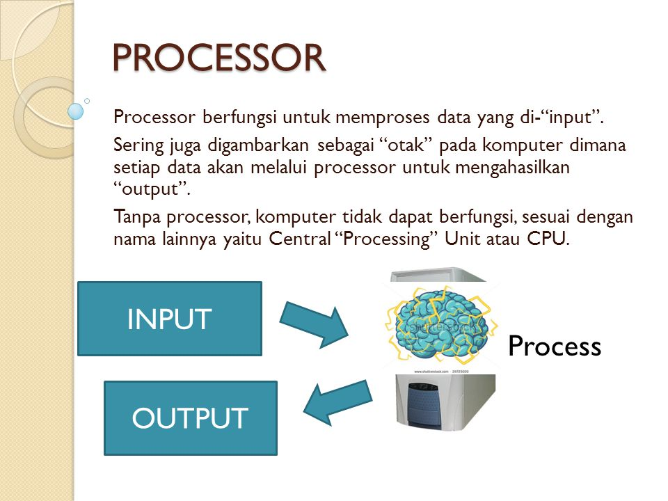 PROCESSOR INPUT Process OUTPUT