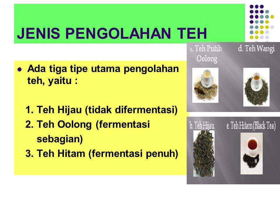 JENIS PENGOLAHAN TEH Ada tiga tipe utama pengolahan teh, yaitu :