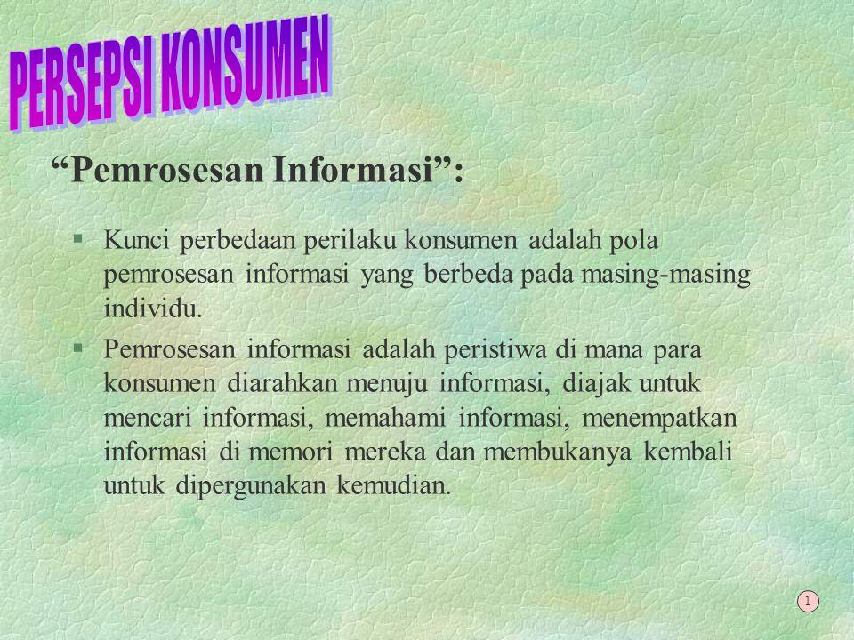 PERSEPSI KONSUMEN Pemrosesan Informasi :