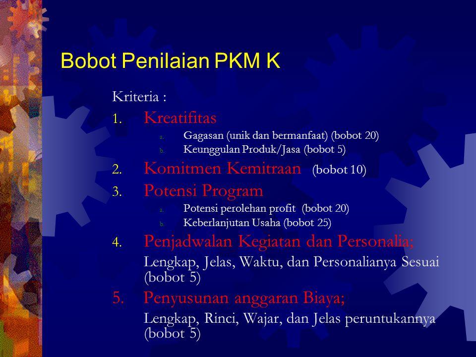 Bobot Penilaian PKM K Kreatifitas Komitmen Kemitraan (bobot 10)