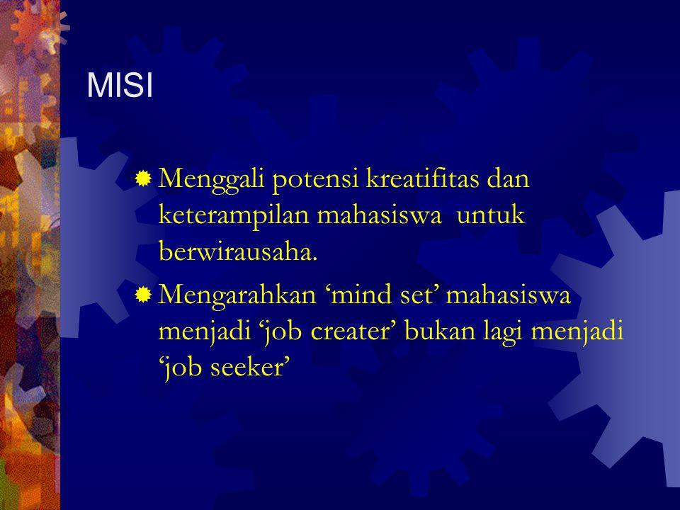 MISI Menggali potensi kreatifitas dan keterampilan mahasiswa untuk berwirausaha.
