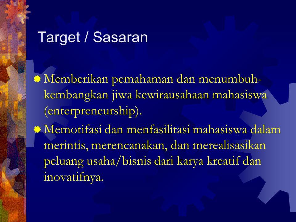 Target / Sasaran Memberikan pemahaman dan menumbuh-kembangkan jiwa kewirausahaan mahasiswa (enterpreneurship).