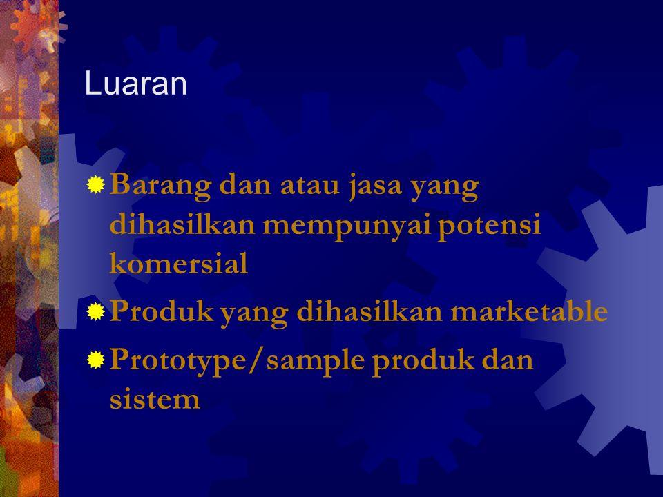 Luaran Barang dan atau jasa yang dihasilkan mempunyai potensi komersial. Produk yang dihasilkan marketable.