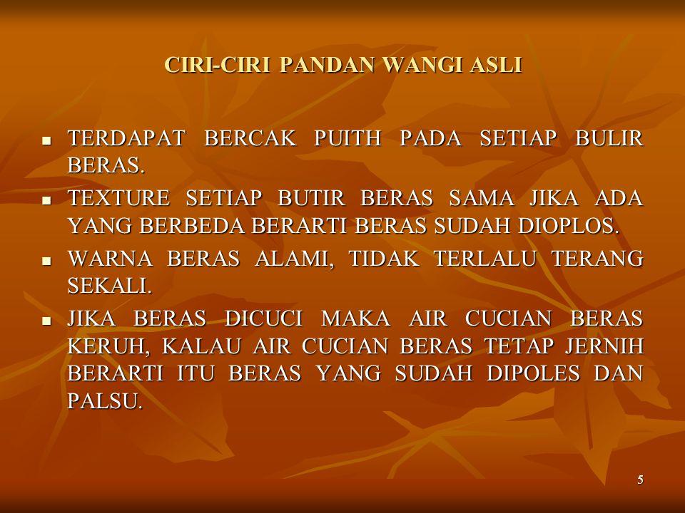 CIRI-CIRI PANDAN WANGI ASLI