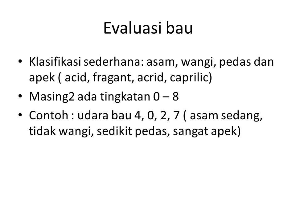 Evaluasi bau Klasifikasi sederhana: asam, wangi, pedas dan apek ( acid, fragant, acrid, caprilic) Masing2 ada tingkatan 0 – 8.