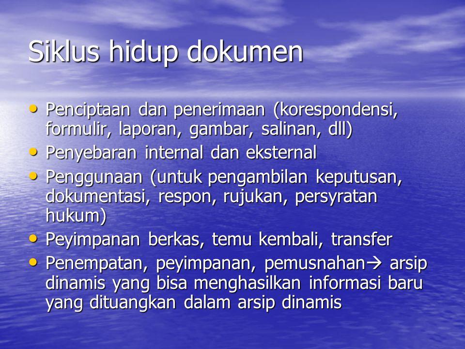Siklus hidup dokumen Penciptaan dan penerimaan (korespondensi, formulir, laporan, gambar, salinan, dll)