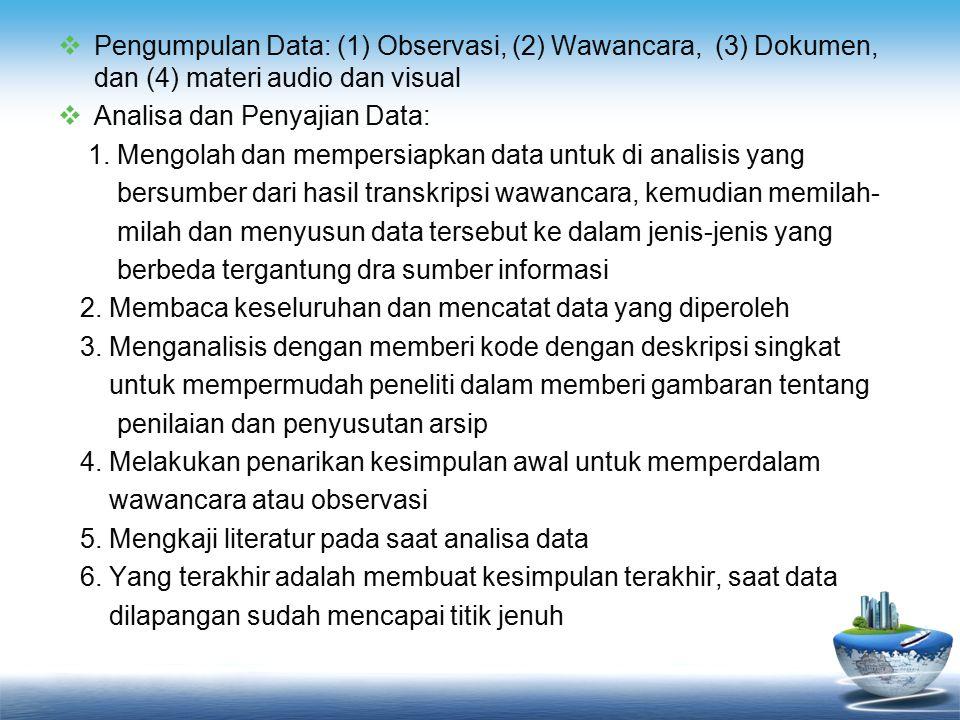 Pengumpulan Data: (1) Observasi, (2) Wawancara, (3) Dokumen, dan (4) materi audio dan visual