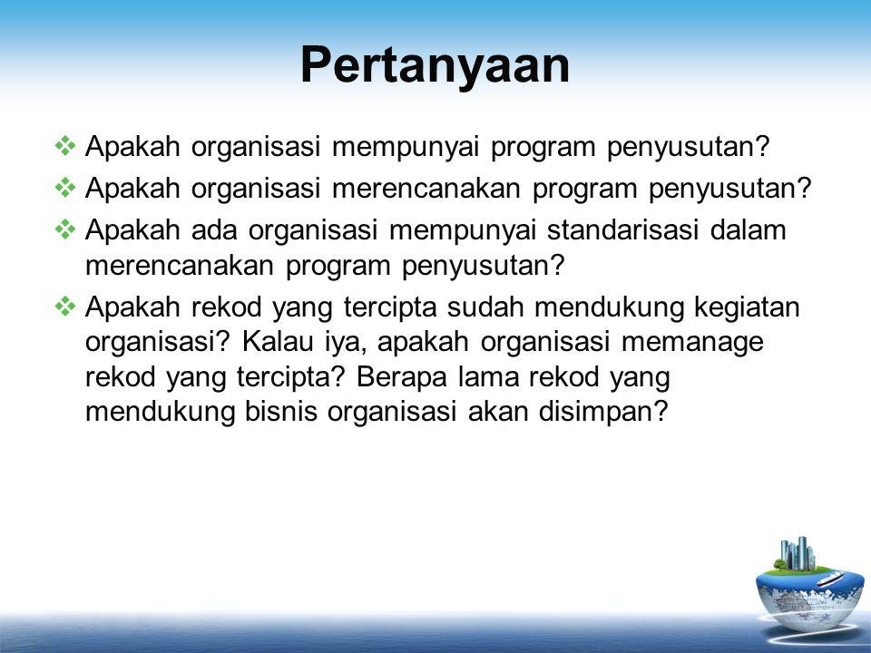 Pertanyaan Apakah organisasi mempunyai program penyusutan