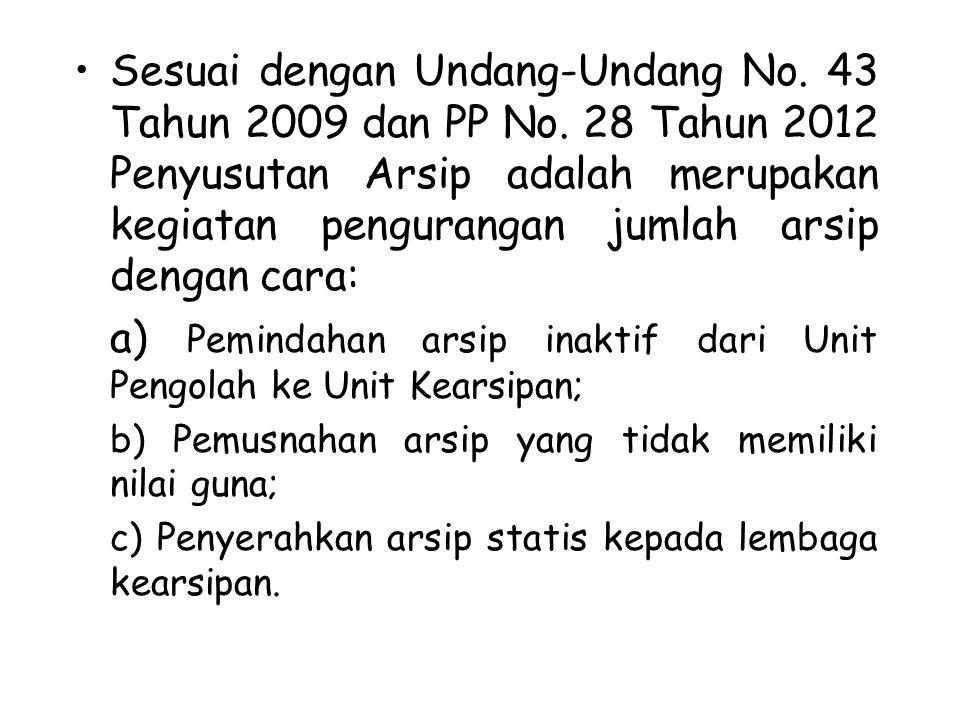 a) Pemindahan arsip inaktif dari Unit Pengolah ke Unit Kearsipan;