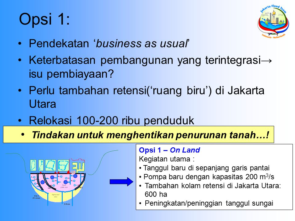 Opsi 1: Pendekatan 'business as usual'