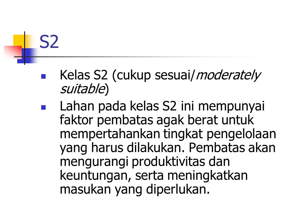 S2 Kelas S2 (cukup sesuai/moderately suitable)