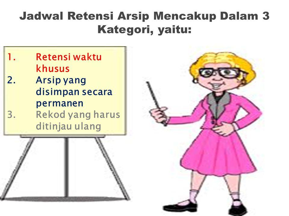 Jadwal Retensi Arsip Mencakup Dalam 3 Kategori, yaitu: