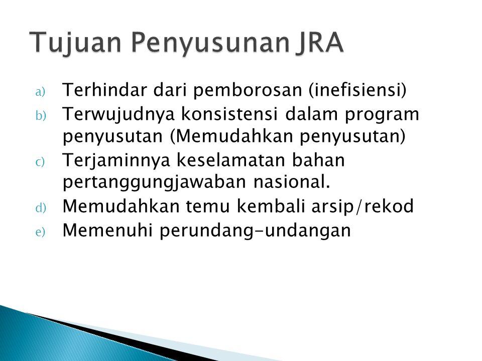 Tujuan Penyusunan JRA Terhindar dari pemborosan (inefisiensi)