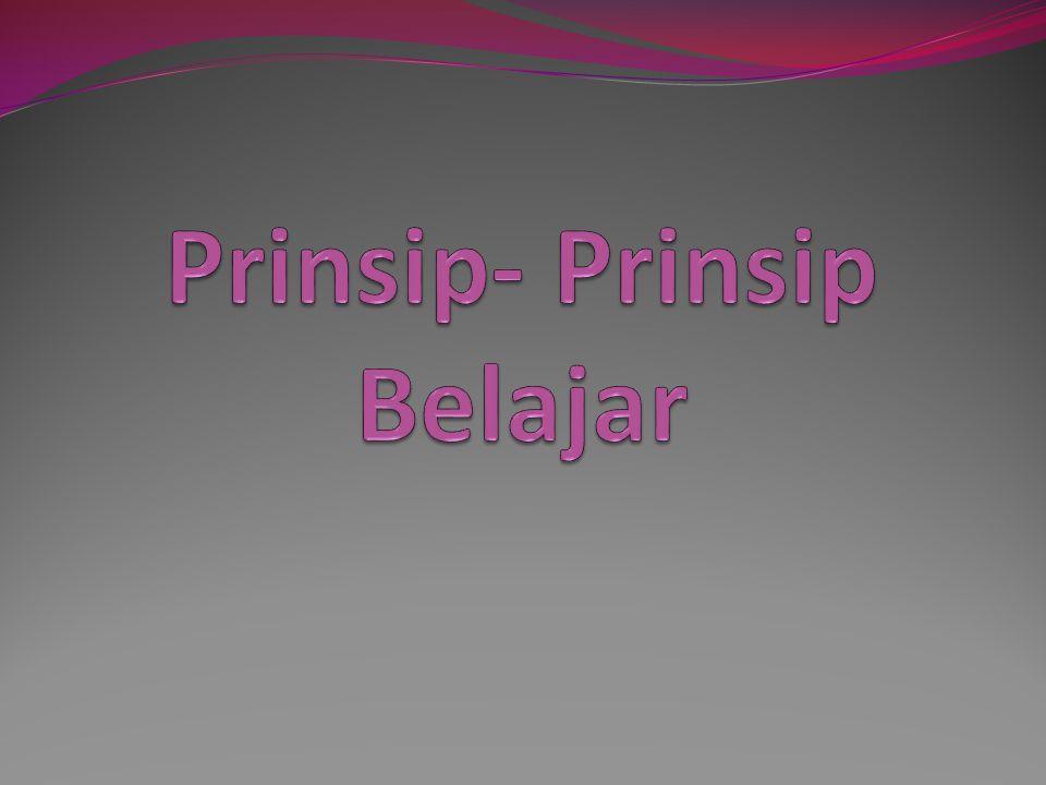 Prinsip- Prinsip Belajar
