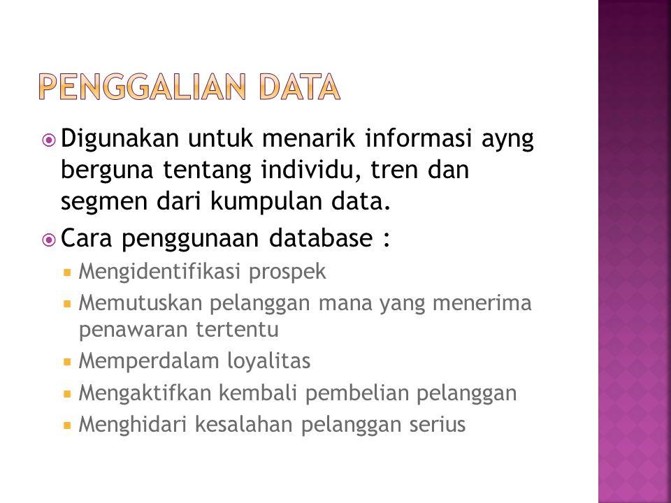 Penggalian Data Digunakan untuk menarik informasi ayng berguna tentang individu, tren dan segmen dari kumpulan data.