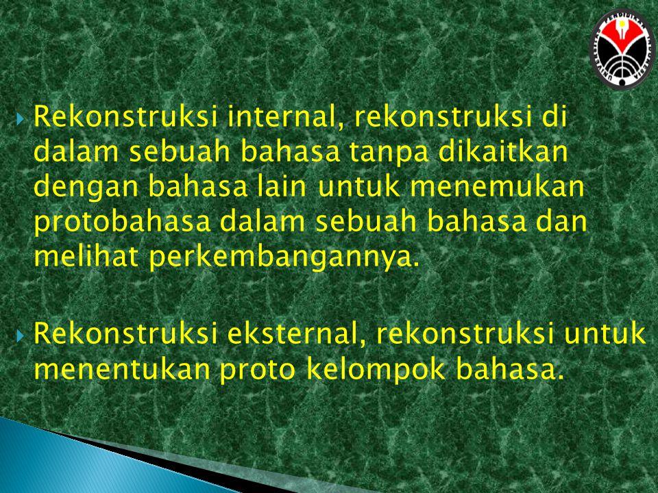 Rekonstruksi internal, rekonstruksi di dalam sebuah bahasa tanpa dikaitkan dengan bahasa lain untuk menemukan protobahasa dalam sebuah bahasa dan melihat perkembangannya.
